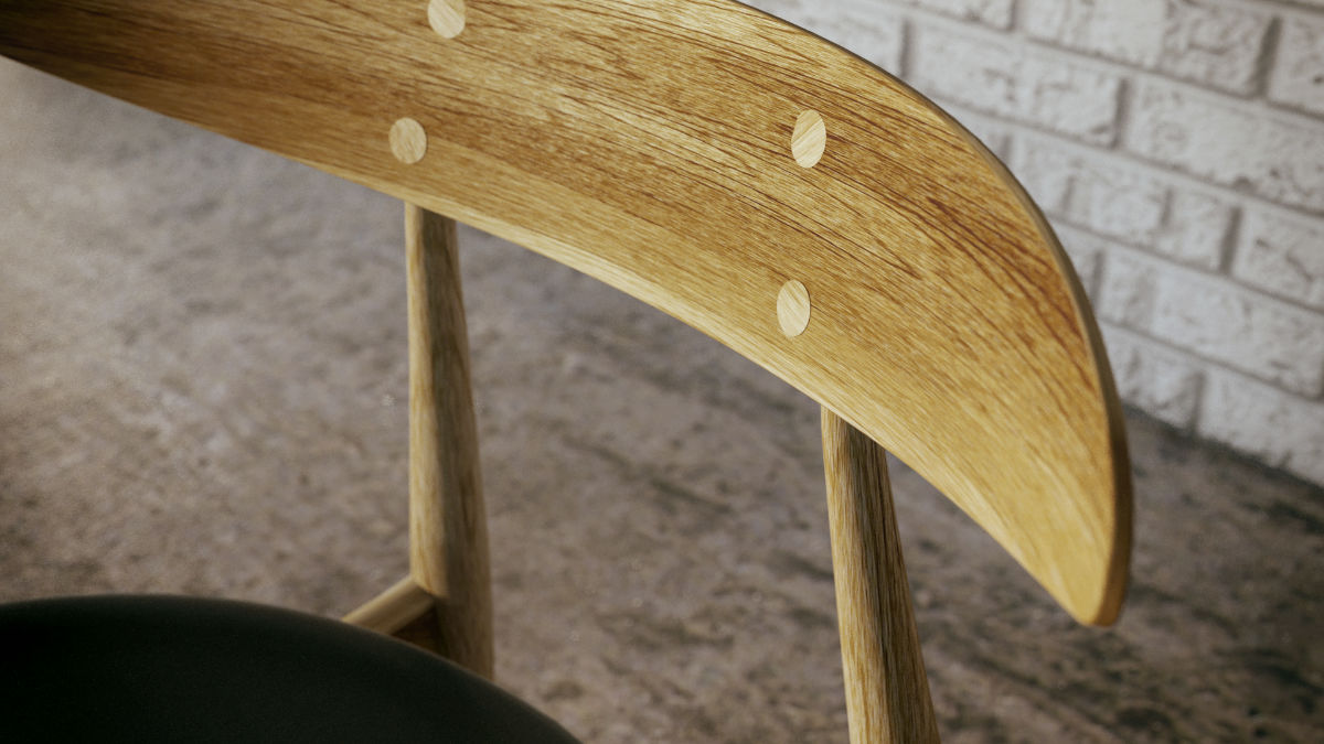 Hans Wegner CH33 szék 3D modellezése és termékvizualizációja