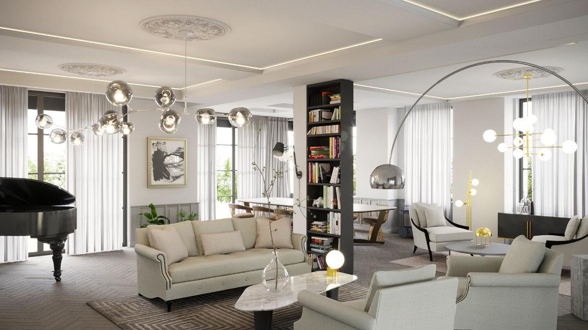 Költő utcai luxusapartman kreatív belsőépítészeti 3D látványtervezése