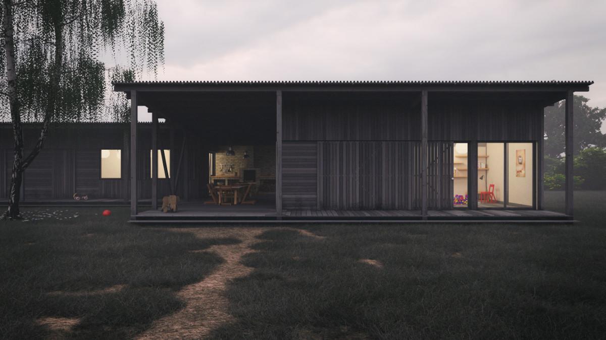 Lovarda klubház építészeti 3D látványtervezése