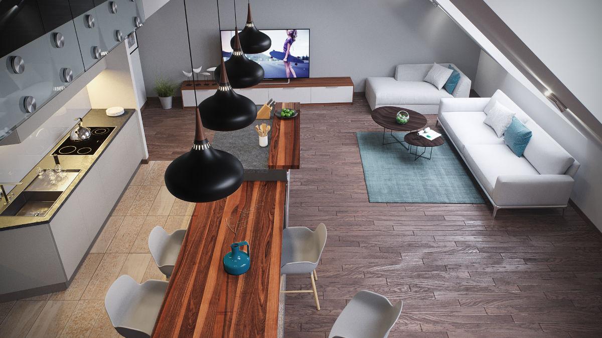 Veres Pálné utcai apartman belsőépitészeti 3D látványtervezése
